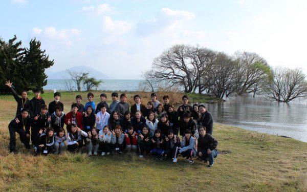 琵琶湖で記念写真!