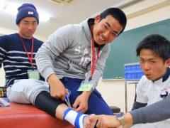 【柔道整復師学科】テーピング実習!足首をテーピングしたよ^^
