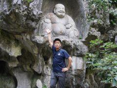 有名な布袋弥勒像。真田先生も満喫しました!