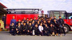消防車の前で記念撮影!